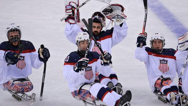 Следж-хоккей. Матч Канада - США. Паралимпиада 2014