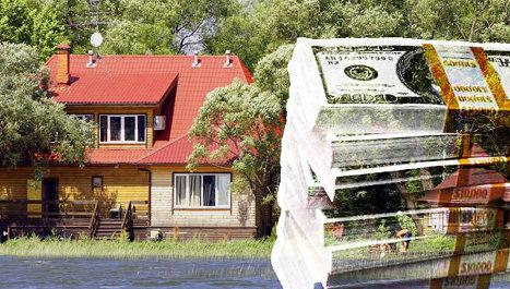 Коттедж, доллары, деньги, цены, дача, загородка, деревянный дом