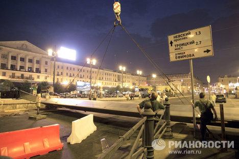 Демонтаж Башни мира в Санкт-Петербурге