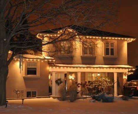 Дом, коттедж, Новый год, зима