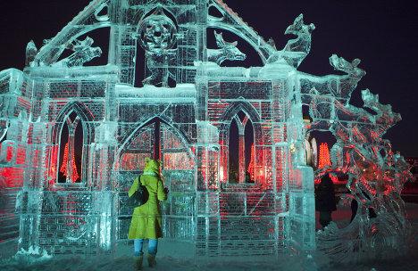 Фестиваль ледовой скульптуры Kremlin-Art на Поклонной горе в Москве