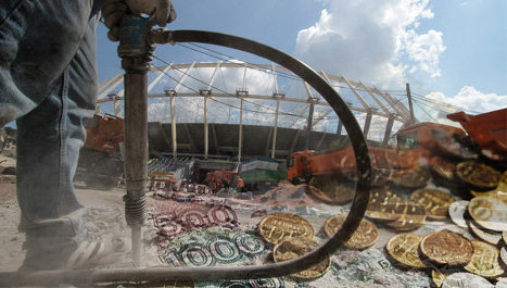 строительство стадиона,  деньги, рубли, рабочий, отбойный молоток