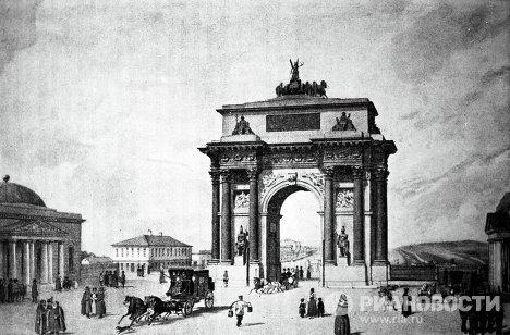 Литография Ф. Бенуа Триумфальные ворота