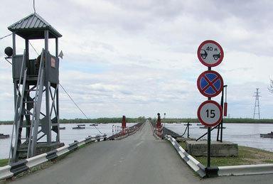 Понтонная переправа через реку Уссури на Большой Уссурийский остров