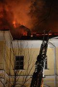 Здание ГИТИС горит в Москве