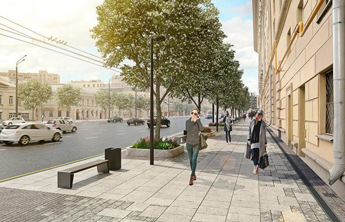 Обновленные пешеходные зоны в районе Смоленской площади