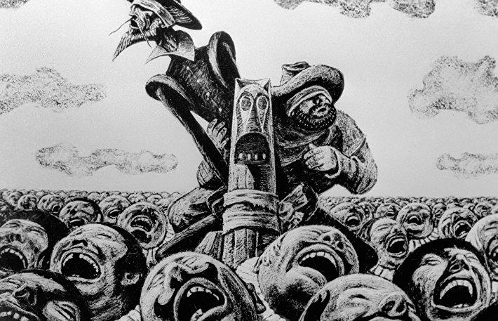 Репродукция иллюстрации к роману Сервантеса Дон Кихот