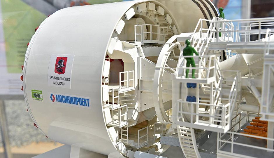 Макет 10-метрового тоннелепроходческого щита, который будет работать на строительстве Кожуховской линии метро