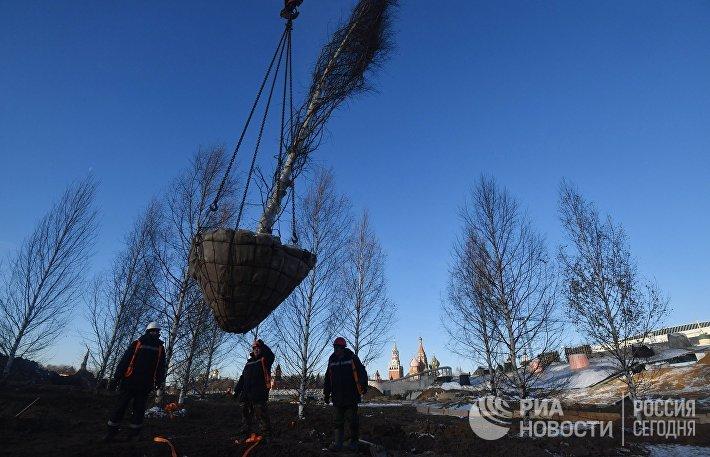 Строительство парка Зарядье