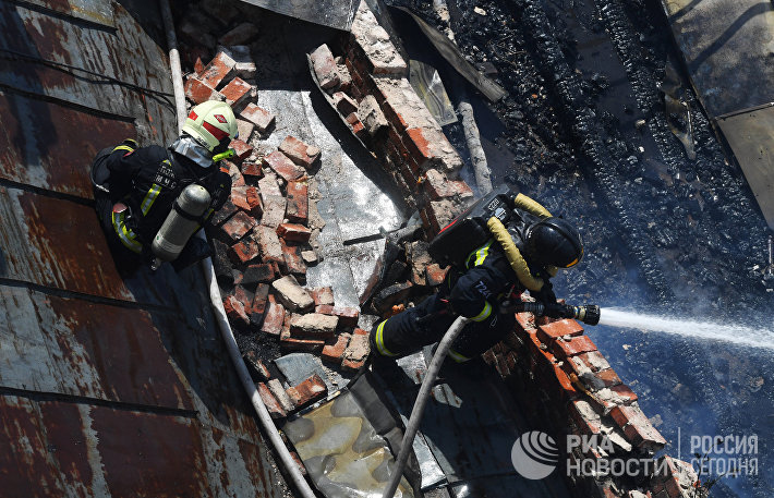 Пожар в центре Москвы