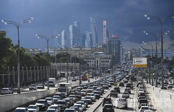 Пробка на Садовом кольце в Москве