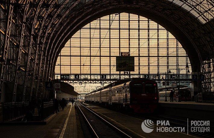 Поезд на платформе Киевского вокзала
